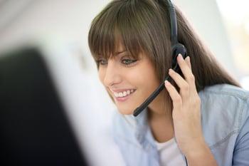 Customer service representative on the phone