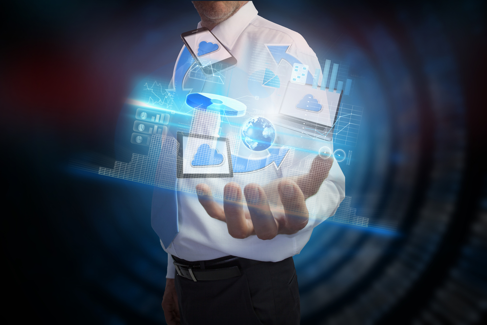 Digital composite of businessman presenting file transfer interface, Elements of this image furnished by NASA